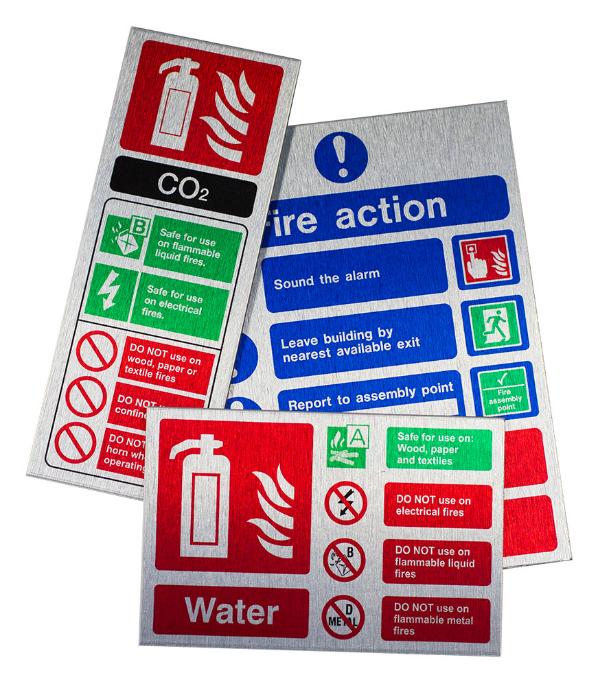 Water ID Sign - Brushed Aluminium (Landscape) 150mm x 100mm - HartsonFire