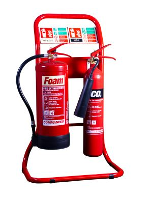 Red Tubular Double Fire Extinguisher Stand