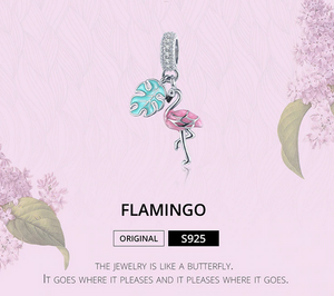 925 Sterling Silver Pink Flamino Pendant + Necklace