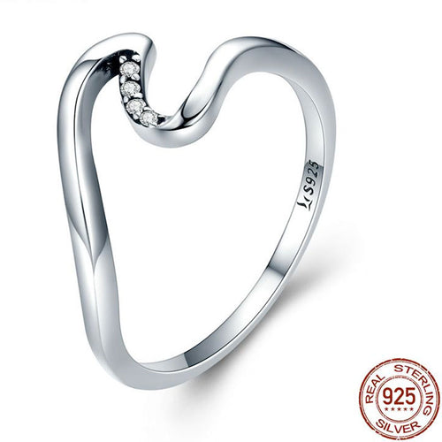925 Sterling Silver& Cubic Zircon Wave Finger Ring | Little Miss Meteo