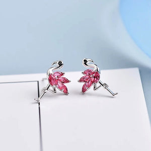 Shiny Flamingo Earrings