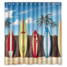 Palm Trees & Surfboards Shower Curtain