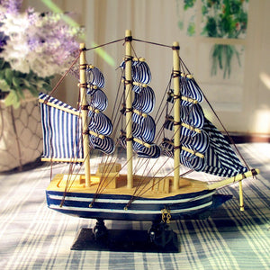 White & Blue Sailing Ship