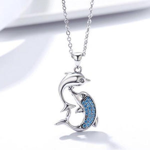 925 Sterling Silver Romantic Dolphin Pendant + Necklace | Little Miss Meteo