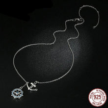 925 Sterling Silver Anchor & Rudder Pendant & Necklace