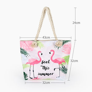 Pink Flamingo Beach Bag - Tote Bag - Fashion | Little Miss Meteo