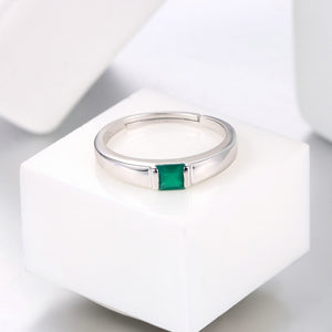 925 Sterling Silver Ring + Green Chalcedony Gem