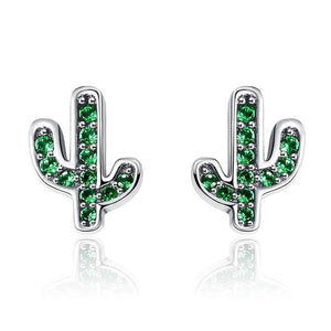 925 Sterling Silver Cactus Earrings - Dazzling Green or Crystal | Little Miss Meteo