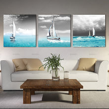 White Sailing Boat Vogue in the Blue Sea (3 pcs)