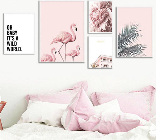 Life In Pink Flamingos Canvas Set - 5 pieces