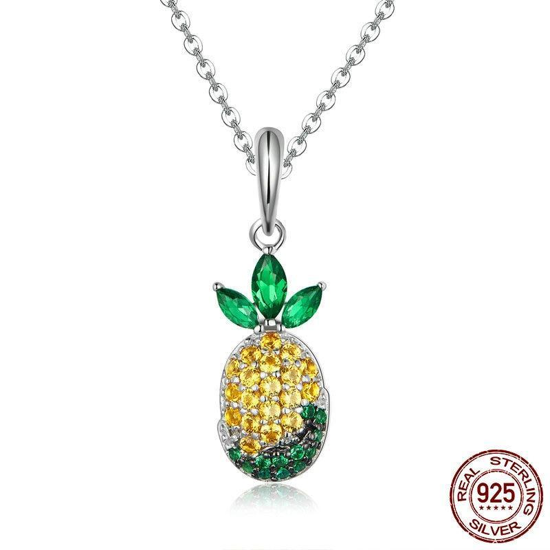 925 Sterling Silver Colorful Pineapple Pendant + Necklace