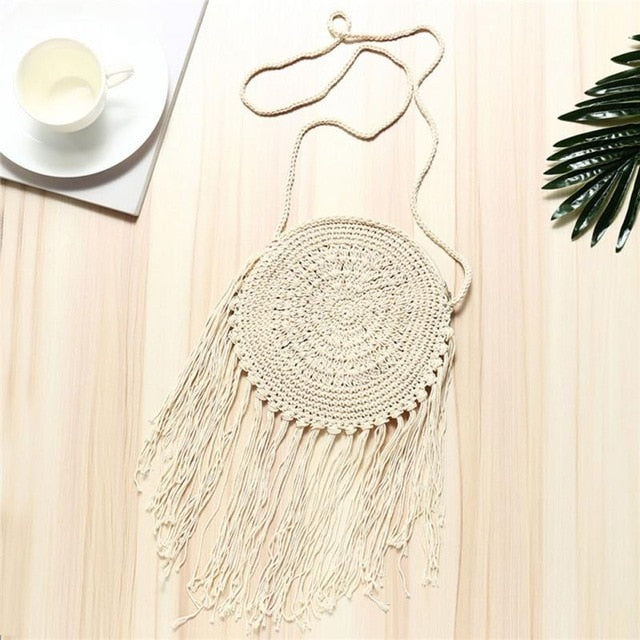 Rattan Woven Vintage Bag With Fringes | Little Miss Meteo