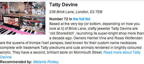 Time Out name Tatty Devine one of The 100 Best Shops in London