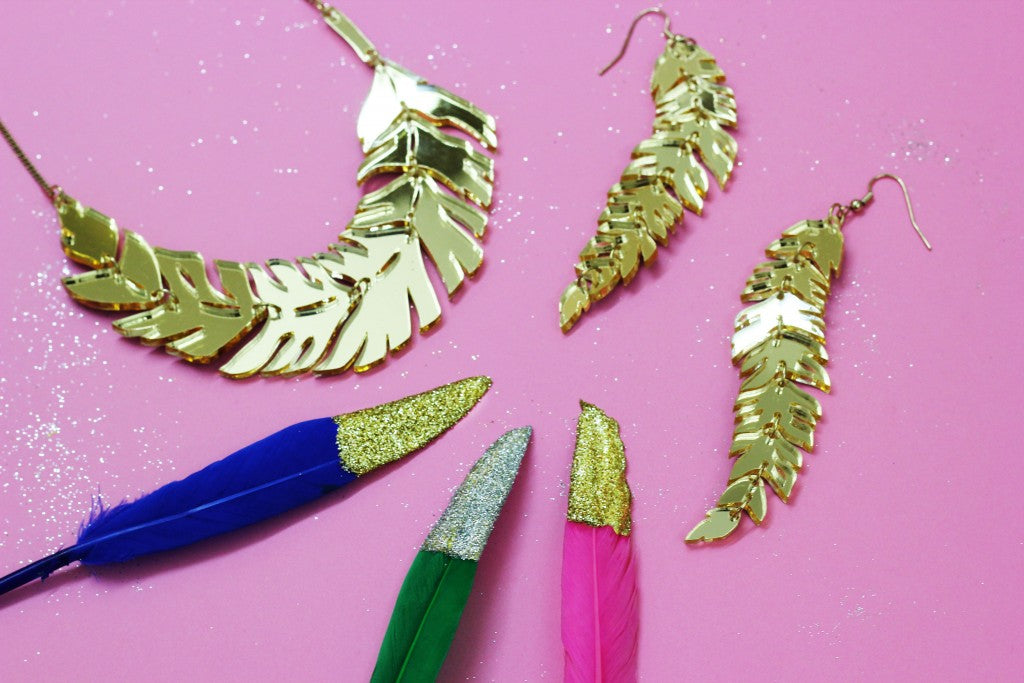 Glitter Dipped Feather Decorations