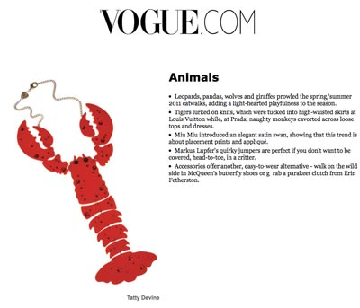Lobster Love at Vogue!