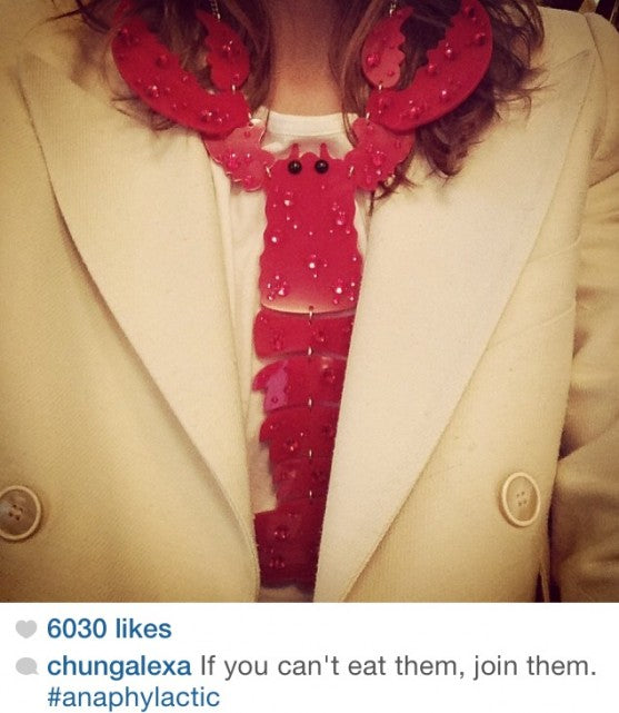 Alexa Chung looks snappy in a Tatty Devine Lobster Necklace!
