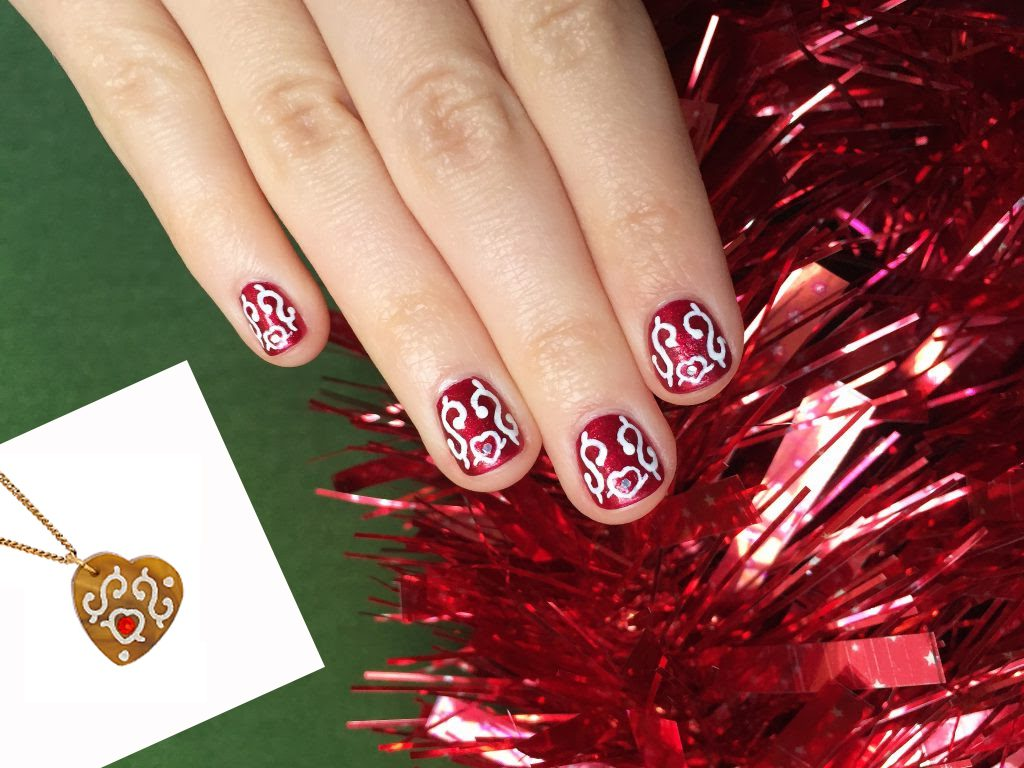 Tatty's Gingerbread Heart Nail Art