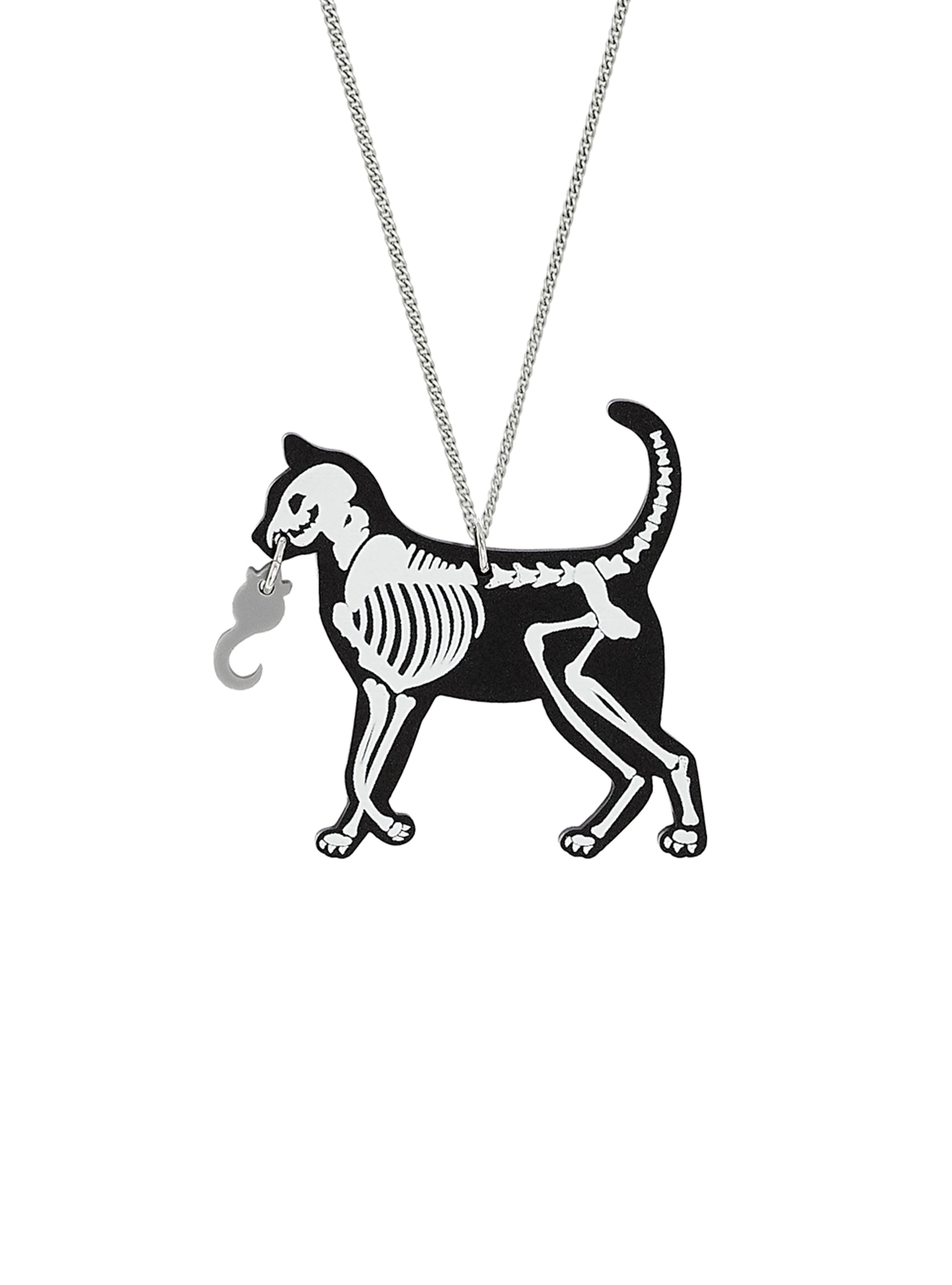 Cat and Mouse Skeleton Necklace