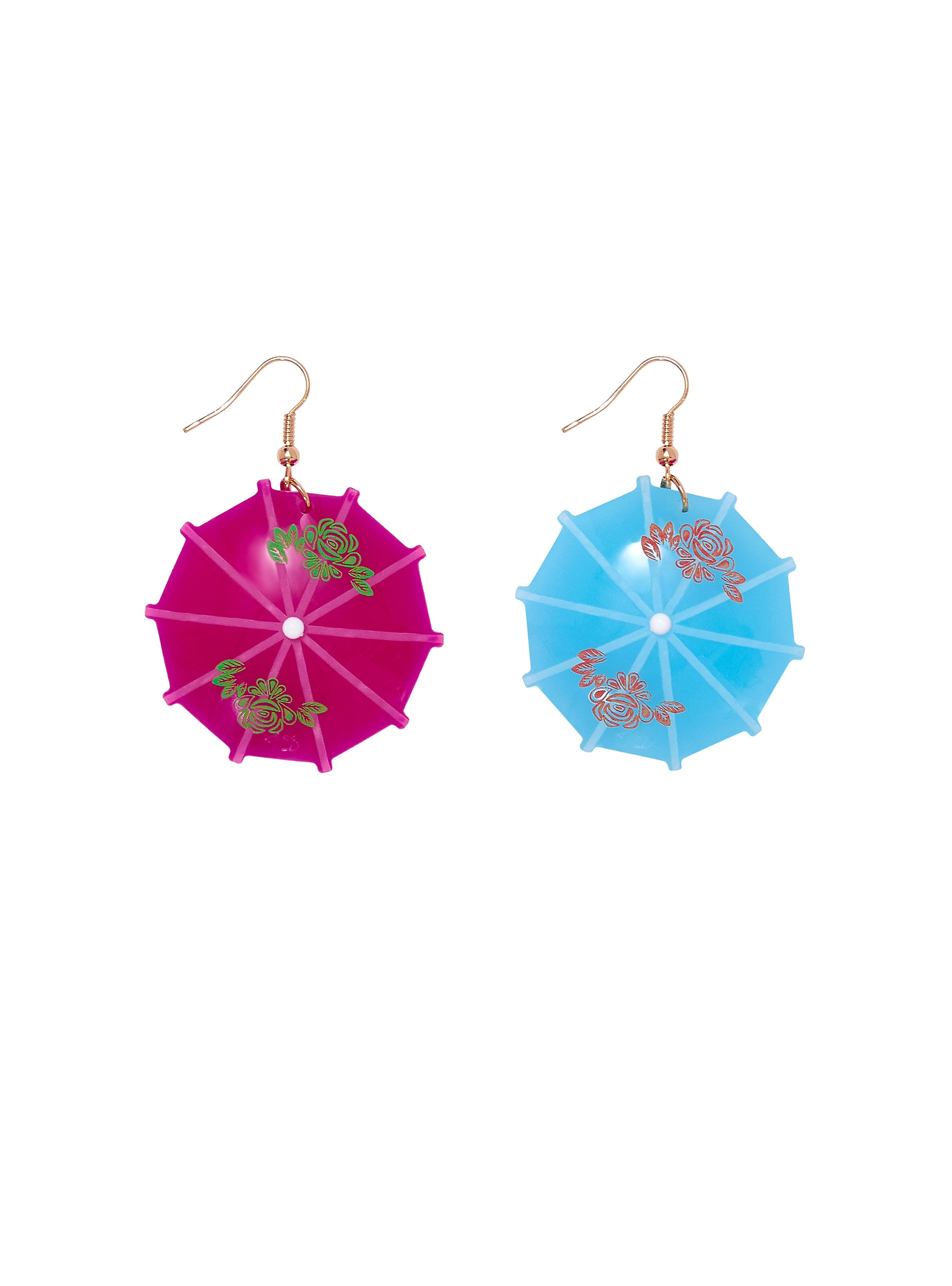 Cocktail-Umbrella-Drop-Earrings-Mismatched