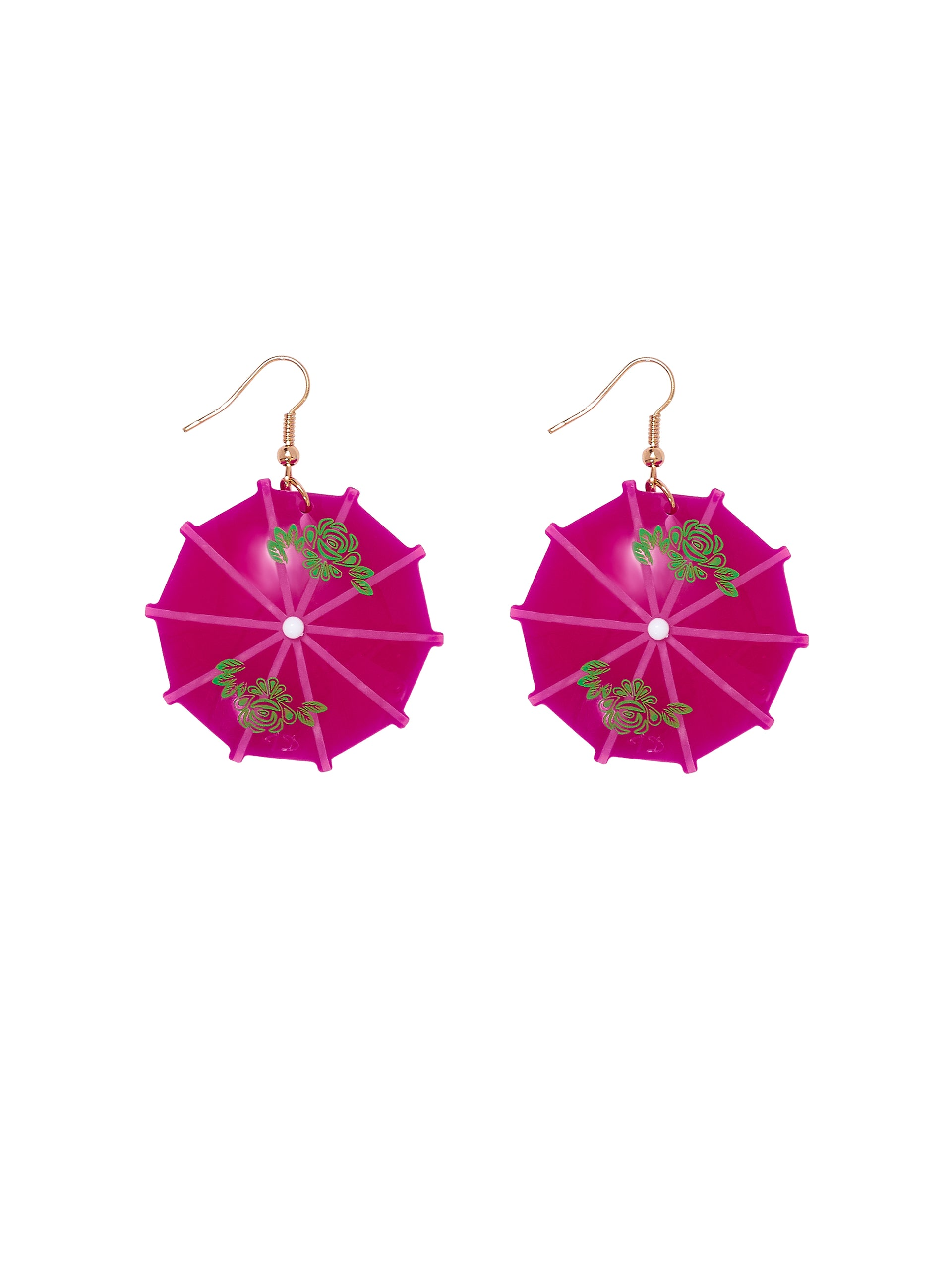 Cocktail-Umbrella-Drop-Earrings-Pink
