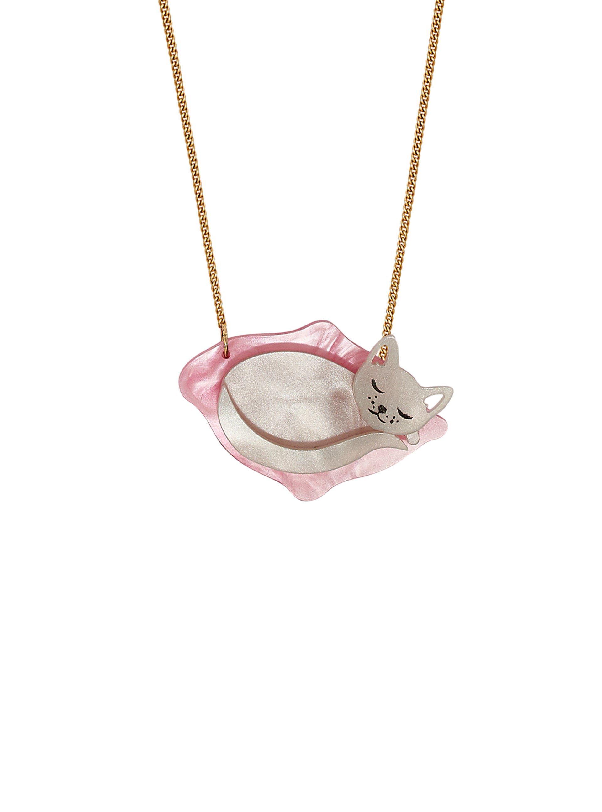 Cosy Cat Necklace - Silver Pearl