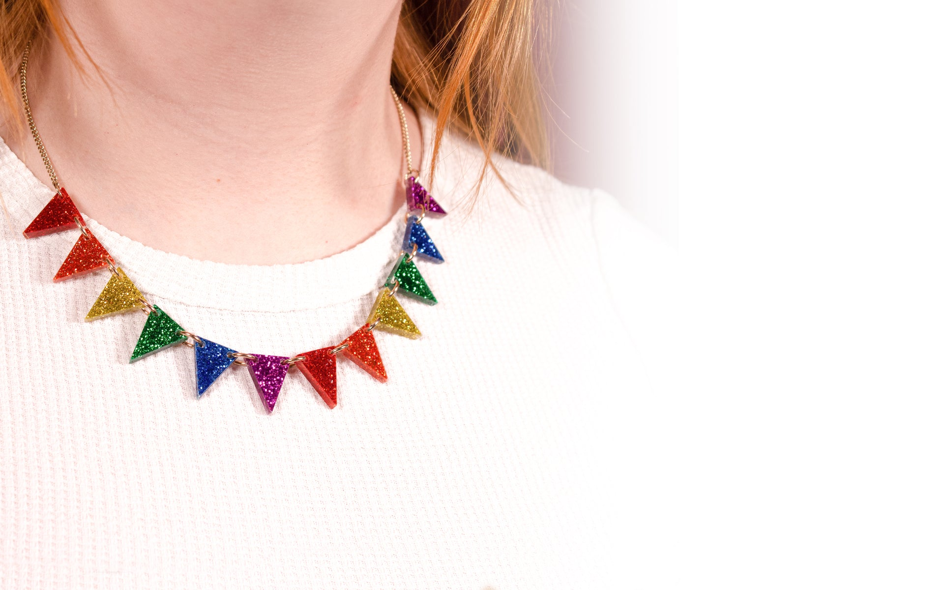 Bunting Necklace - Glitter Rainbow