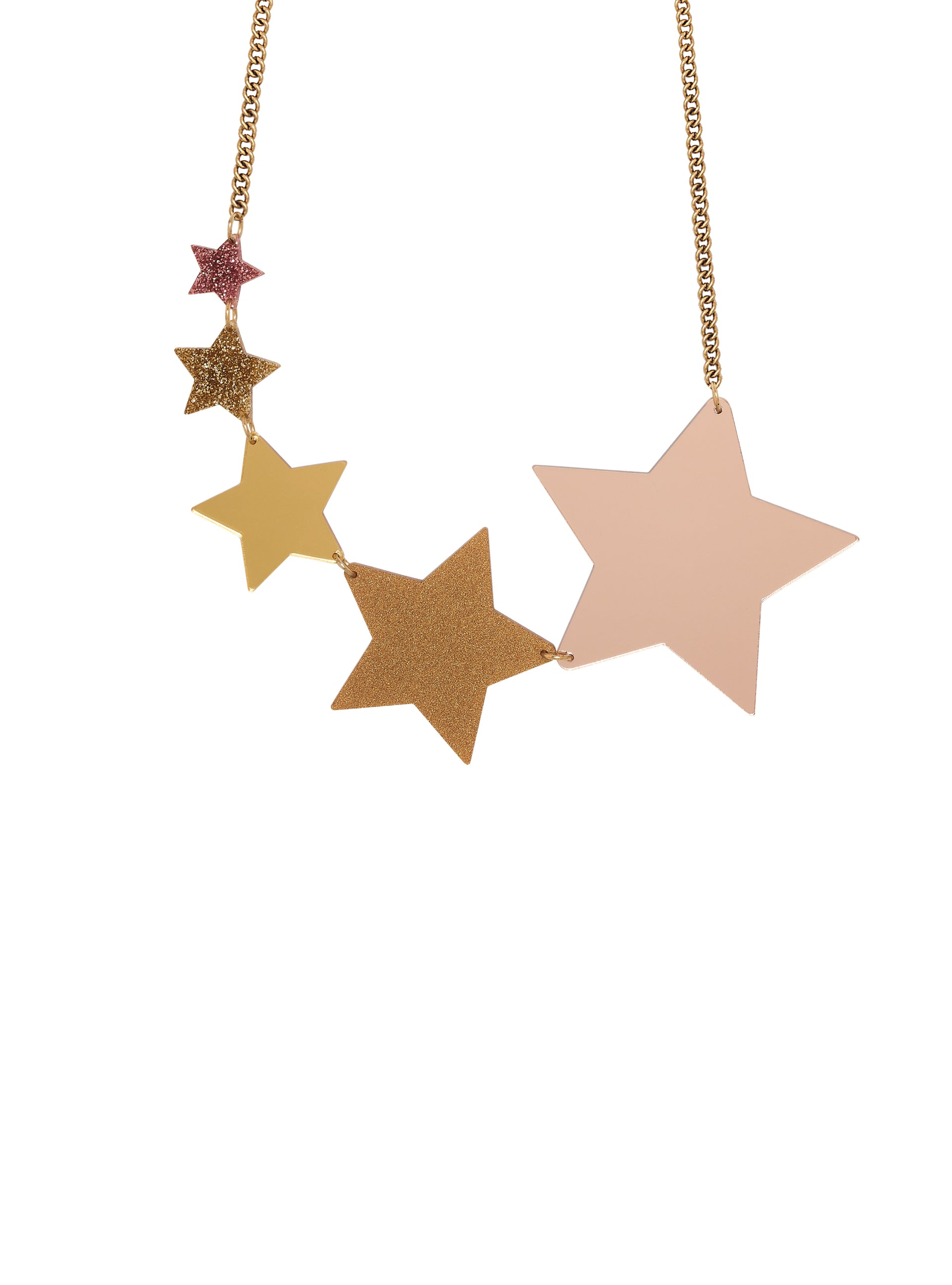 Shooting Stars Statement Necklace - Rose Gold