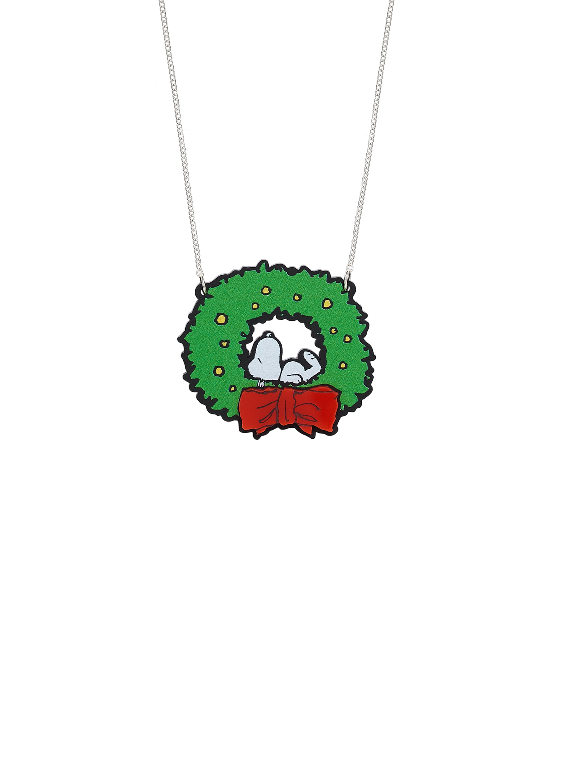 Snoopy Christmas Wreath Necklace
