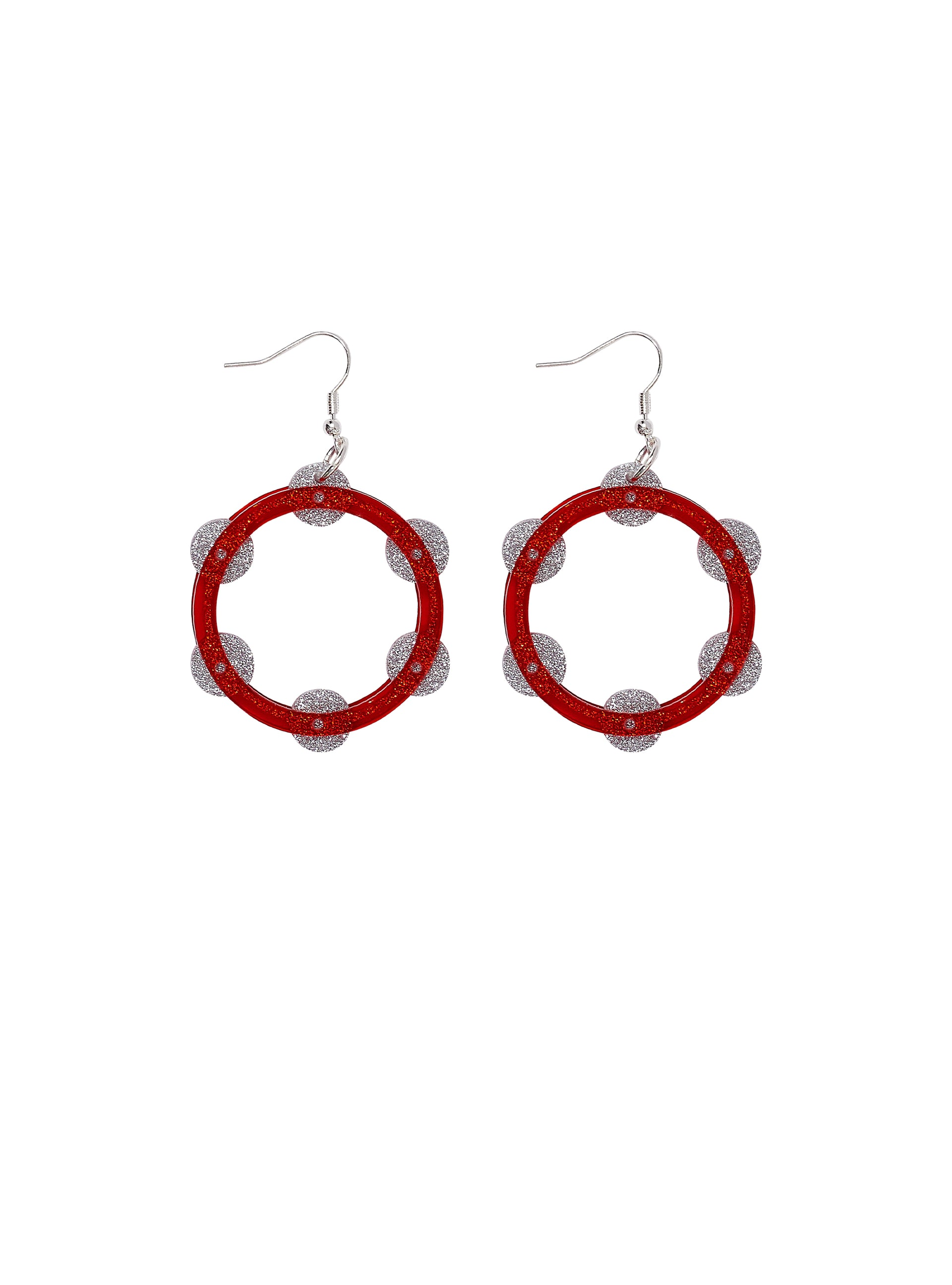 Tambourine-Earrings-Red