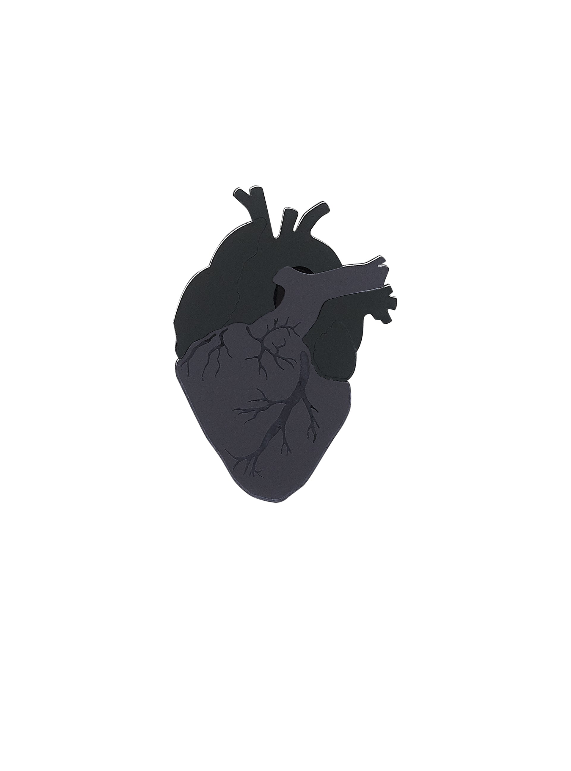Anatomical Heart Brooch - Black
