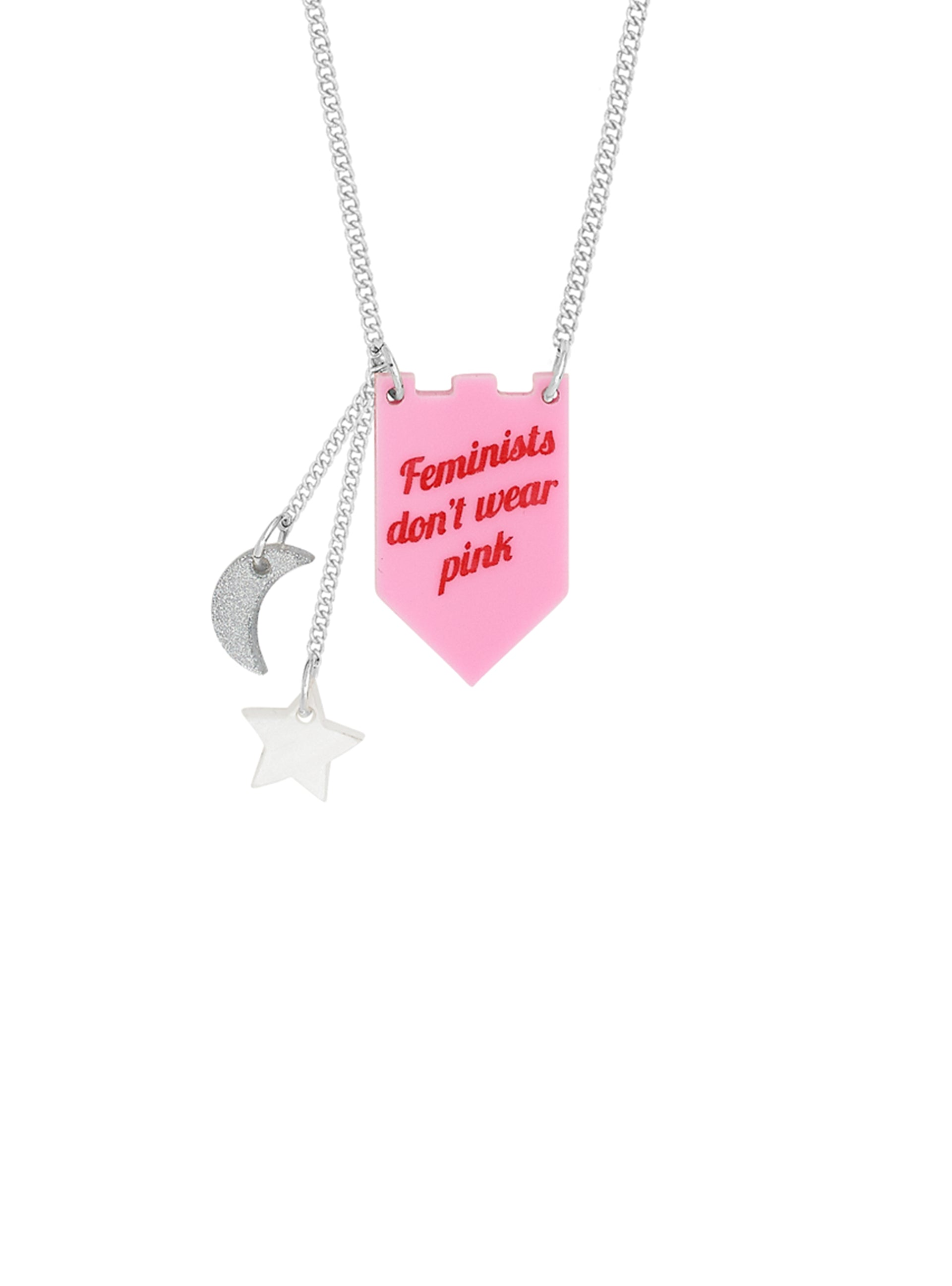 feminists don't wear pink necklace