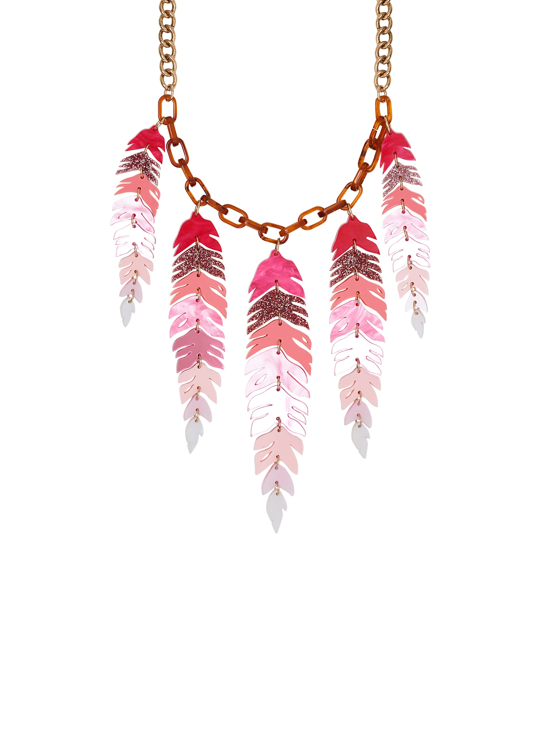 Flamingo Feather Necklace
