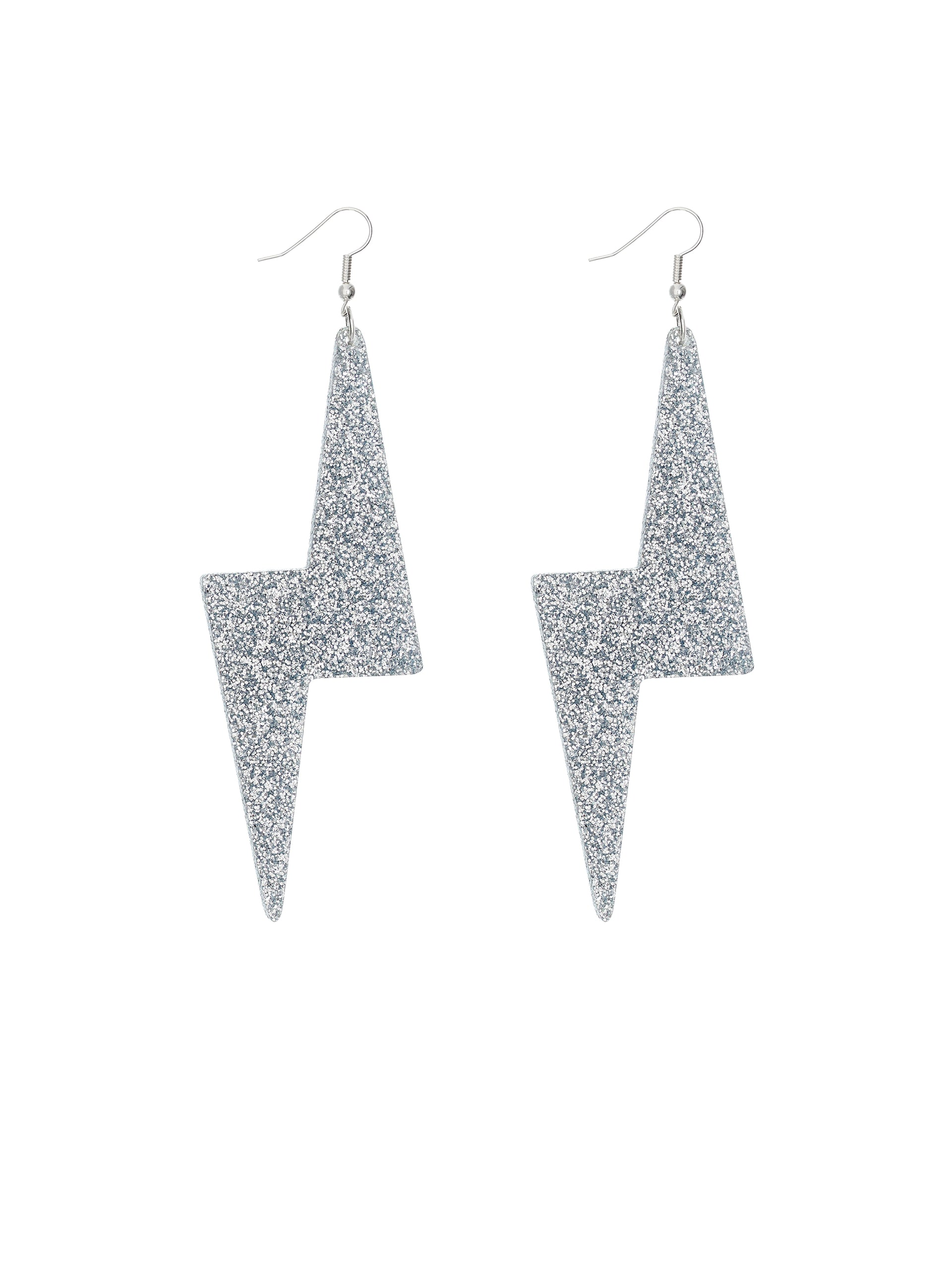 Bolt Earrings - Silver Glitter