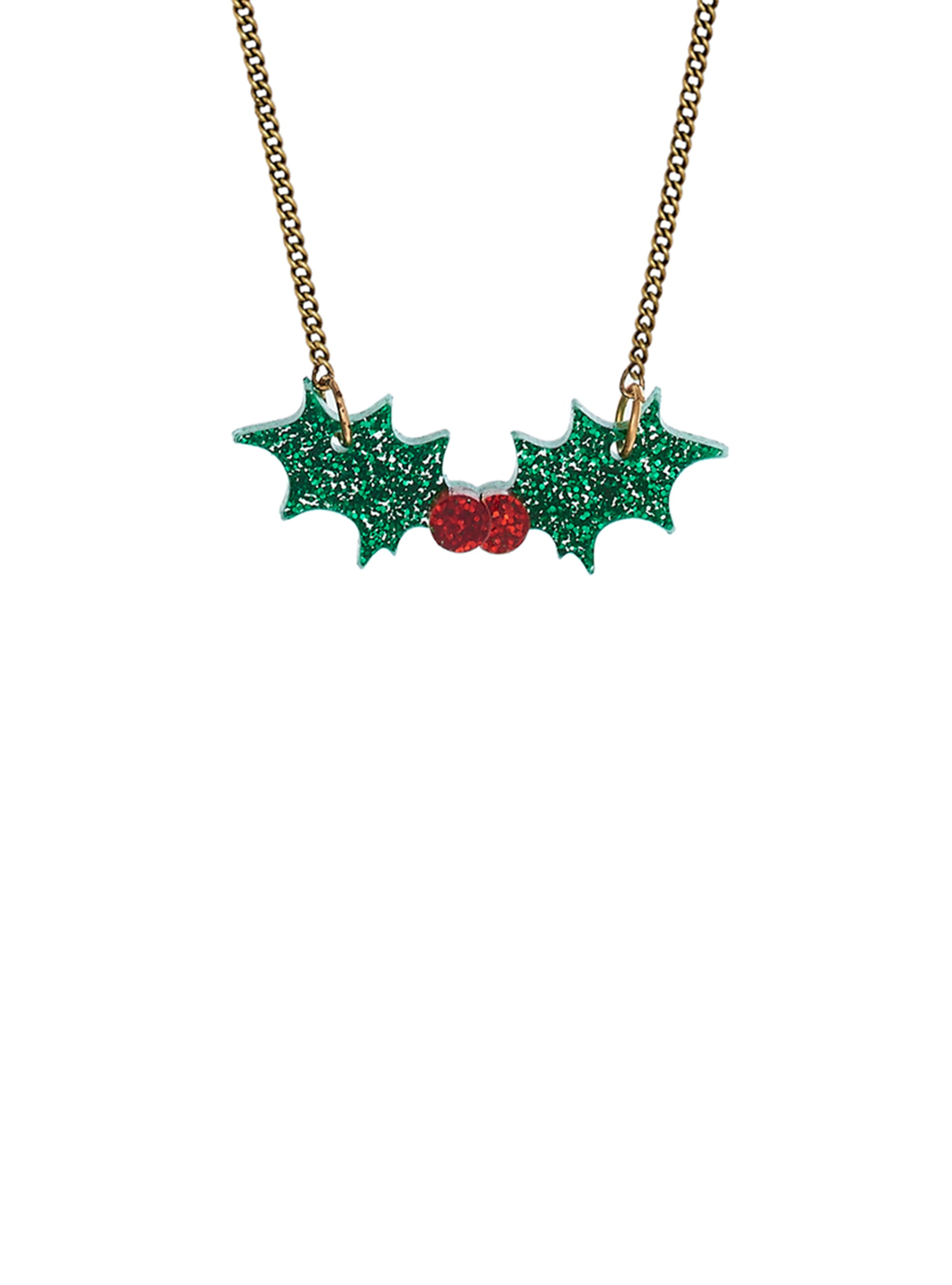 Holly Necklace - Glitter Green