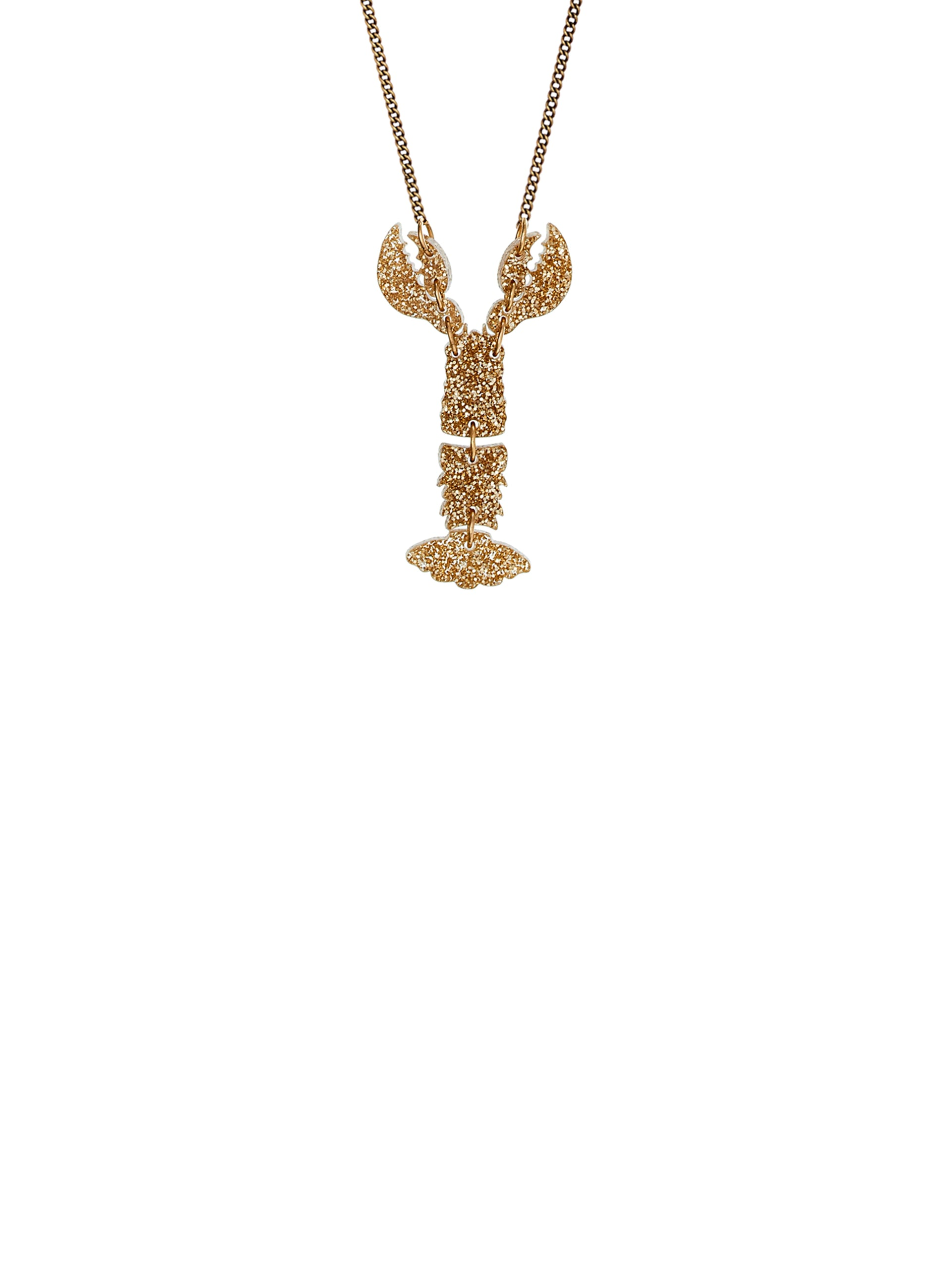 Mini Lobster Necklace - Glitter Gold