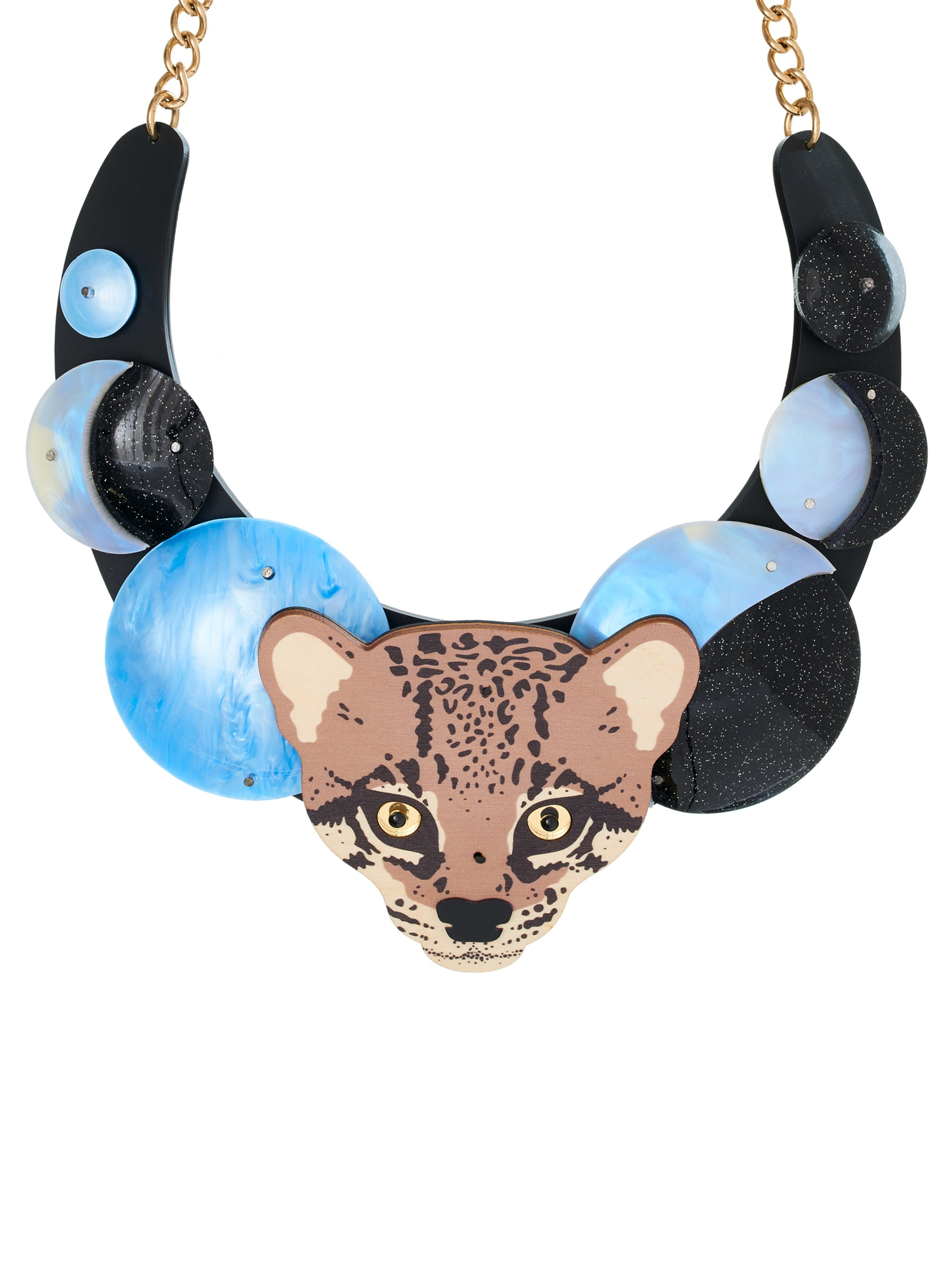 Ocelot and Moon Statement Necklace
