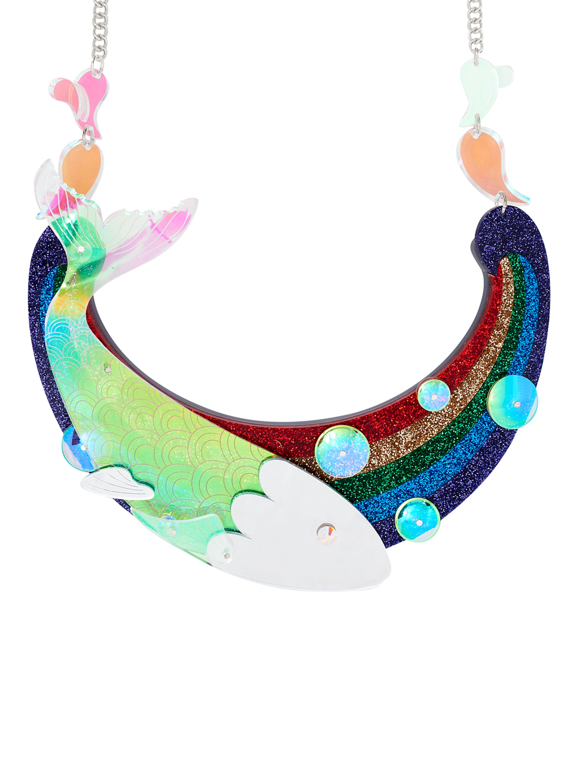 rainbow fish statement necklace
