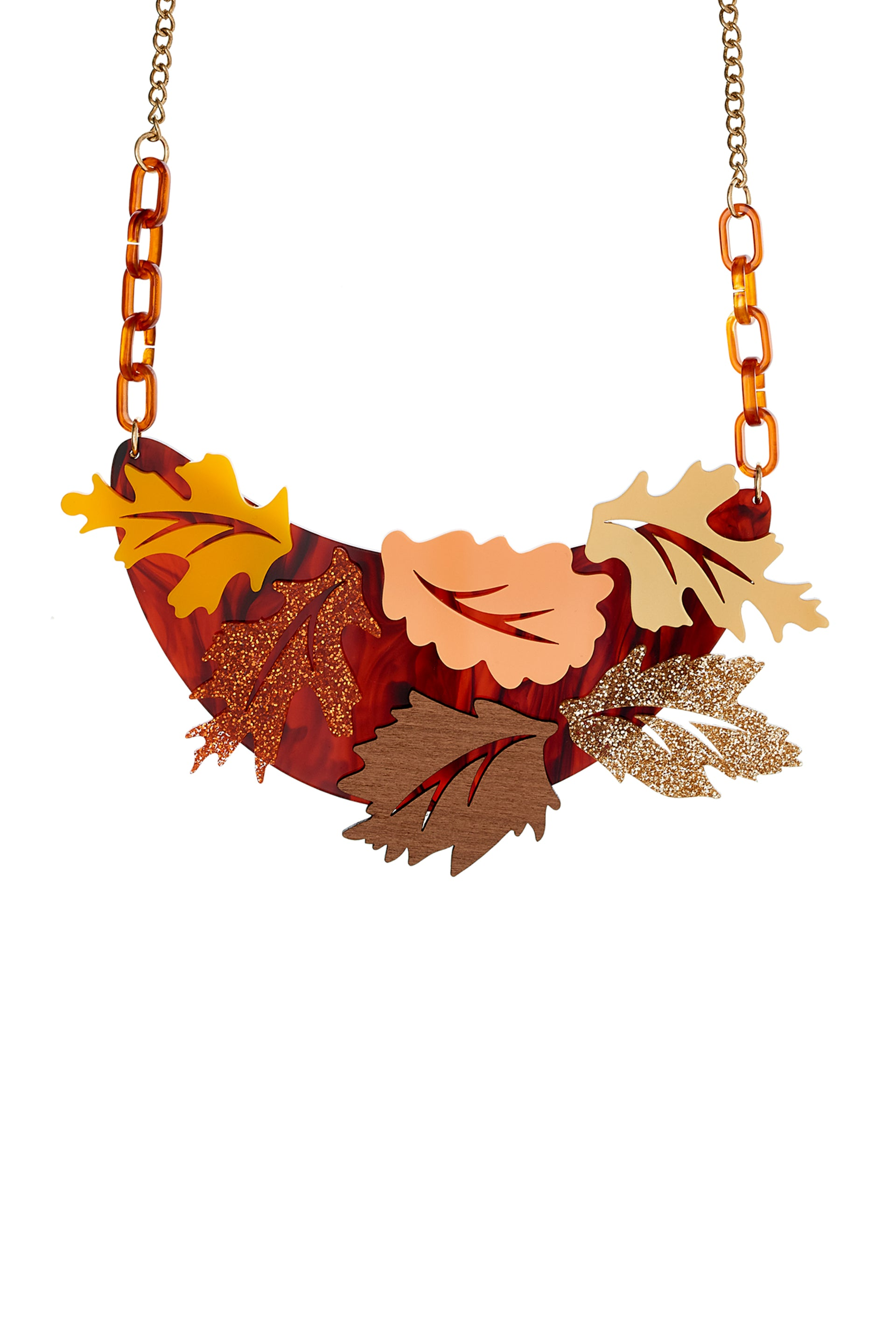Russet Leaves Bib Necklace