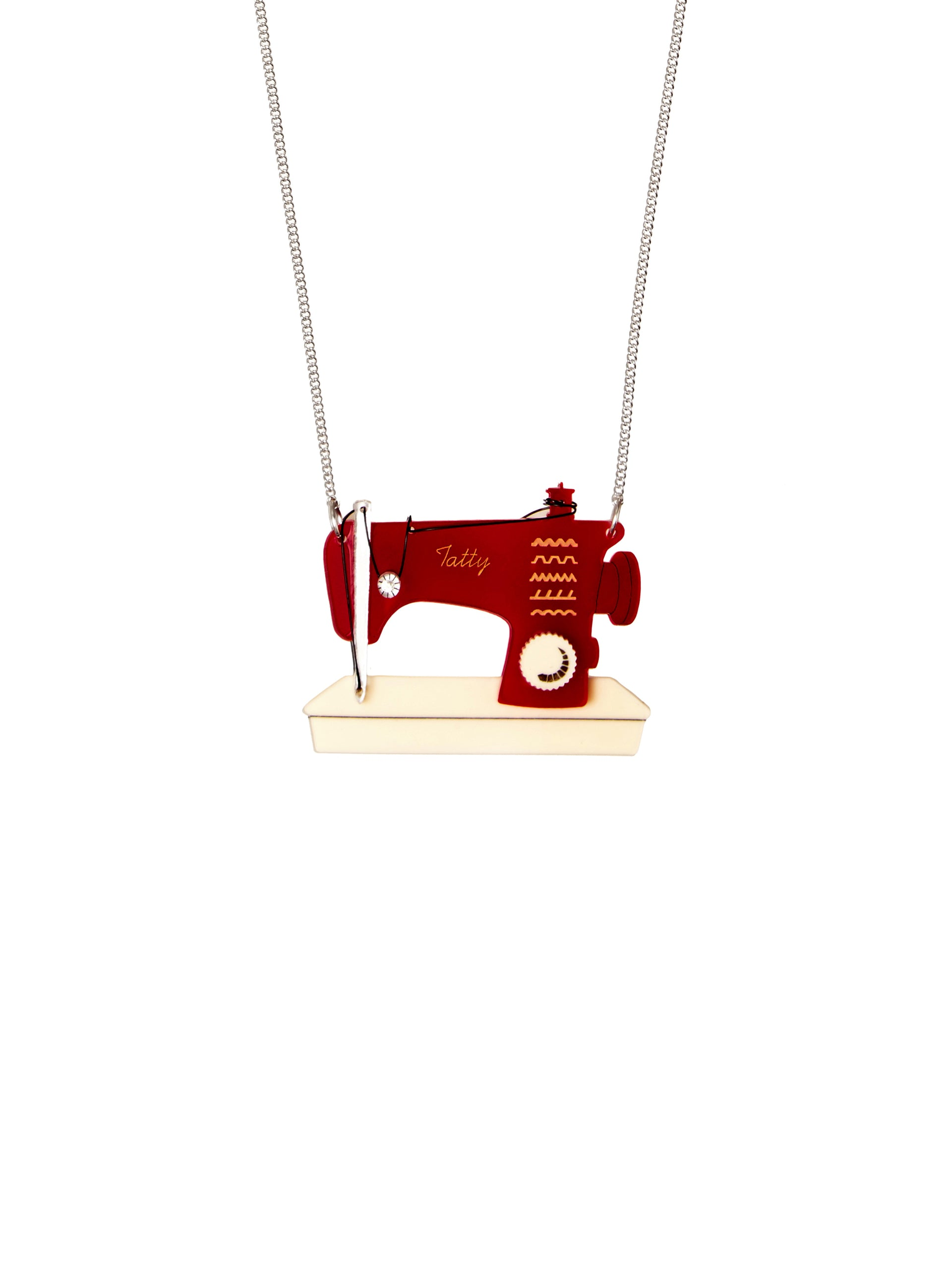 Sewing Machine Necklace - Red