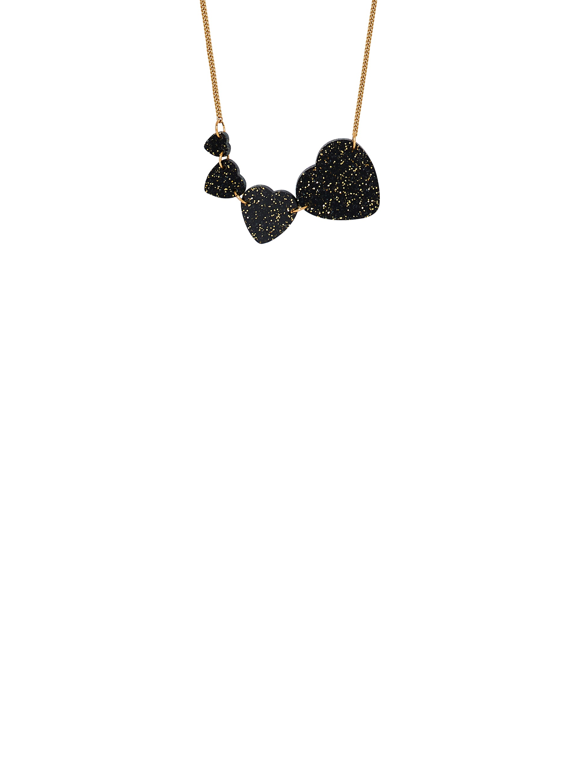 Shooting Heart Necklace - Black Glitter