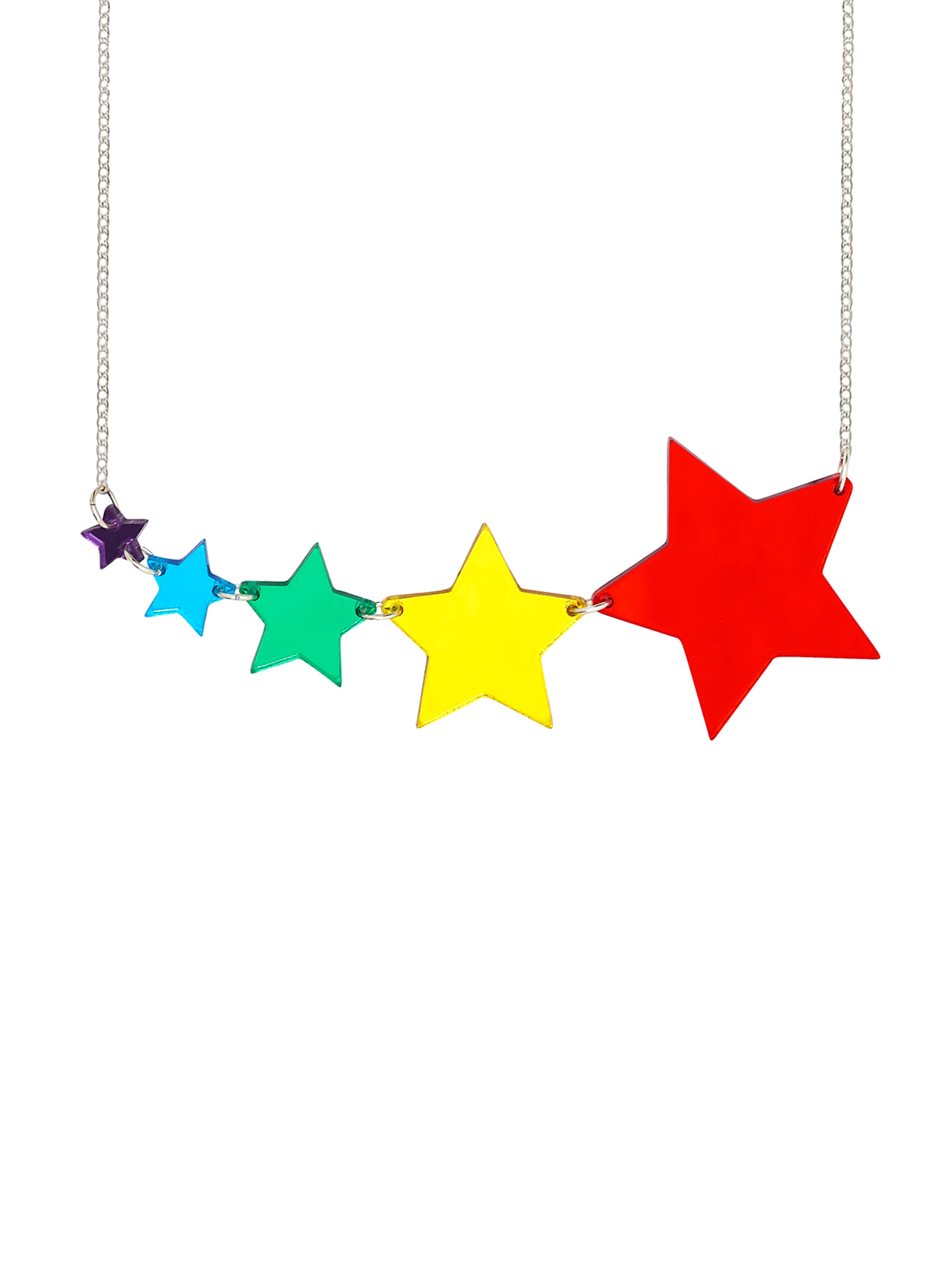 Shooting Star Rainbow Link Necklace