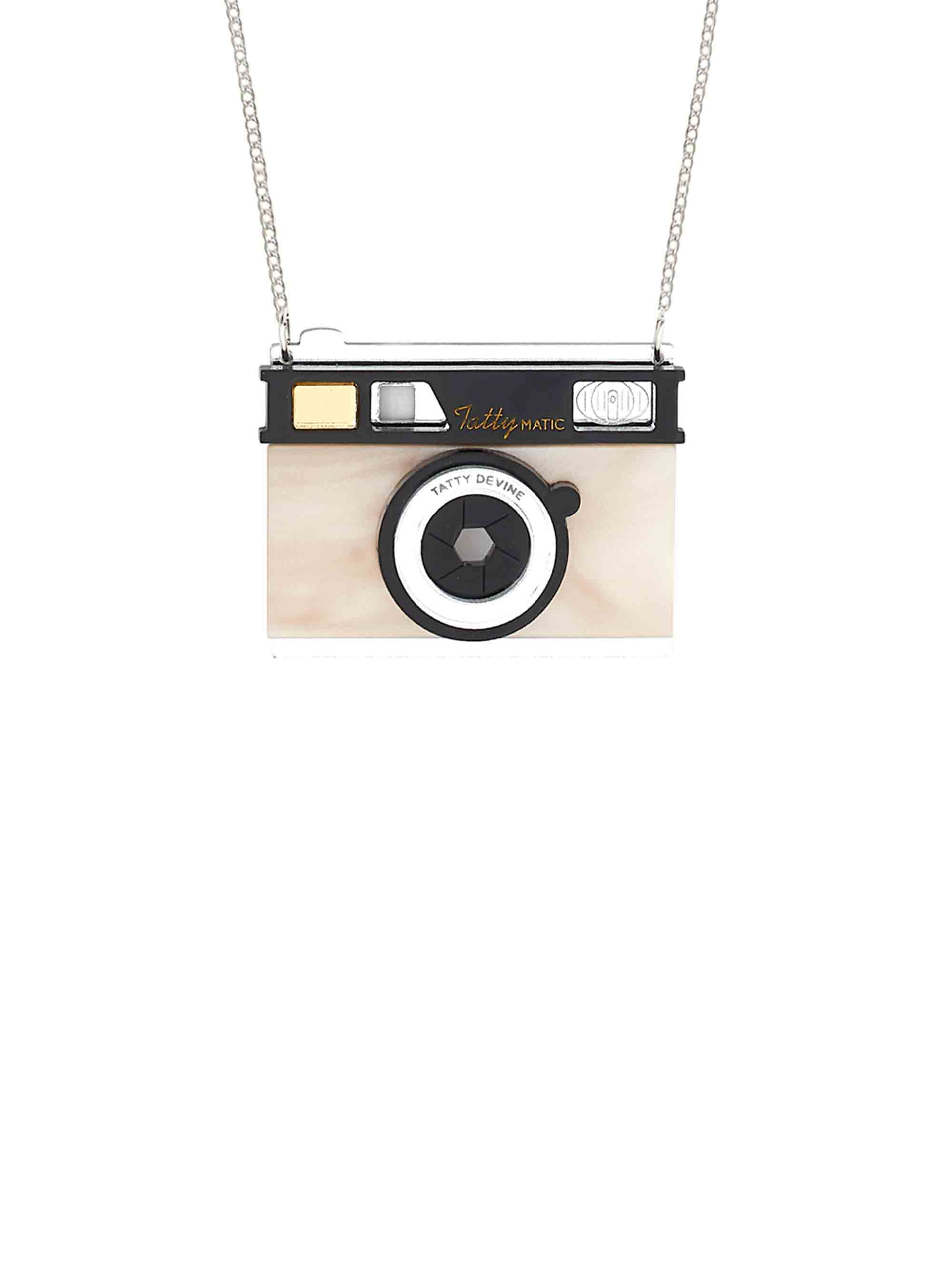 Small Camera Necklace - Pearl
