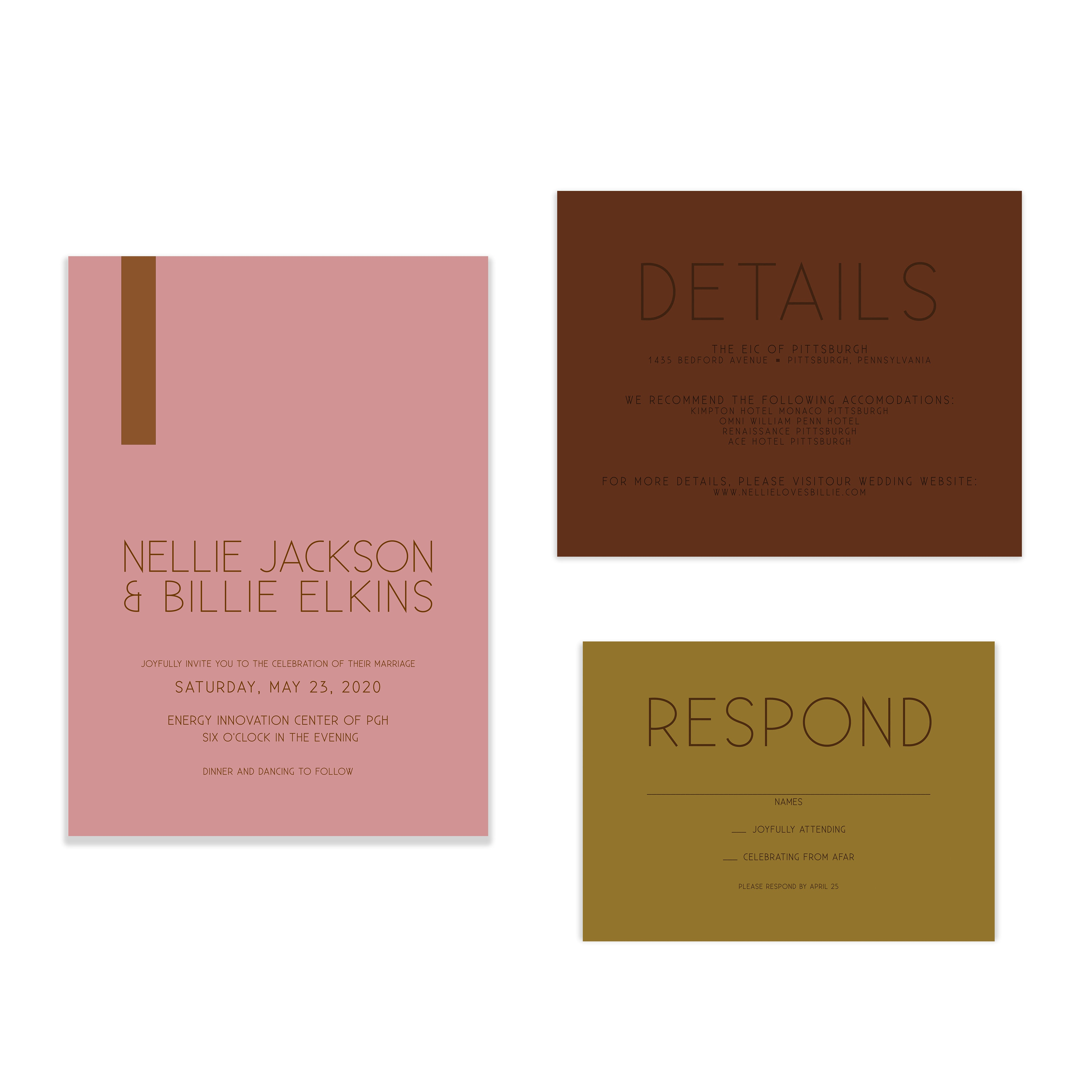 Bold + Modern Color Block Wedding Invitation Suite