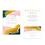 Oh joyful day artful wedding invitation modern wedding invitation Pittsburgh wedding invitation Pittsburgh weddings Pittsburgh wedding vendors watercolor wedding invitation wedding invitation navy wedding invitation custom wedding invitation hand lettered wedding invitation Pittsburgh paper goods wedding paper goods Pittsburgh artist Pittsburgh wedding art artistic wedding blush wedding yellow wedding invitation emerald wedding