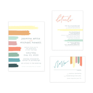 Oh joyful day artful wedding invitation modern wedding invitation Pittsburgh wedding invitation Pittsburgh weddings Pittsburgh wedding vendors watercolor wedding invitation wedding invitation navy wedding invitation custom wedding invitation hand lettered wedding invitation Pittsburgh paper goods wedding paper goods Pittsburgh artist Pittsburgh wedding art artistic wedding colorful bold bright color swatch line brushed wedding invitation suite