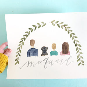 custom watercolor portrait custom family portrait family art family artwork gift for her gift for grandma gift for mom custom artwork custom watercolor art Pittsburgh watercolor Pittsburgh art Pittsburgh artist oh joyful day