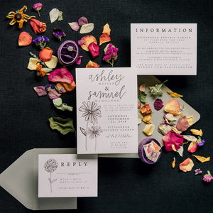Simple Floral Illustrated Wedding Invitation Suite