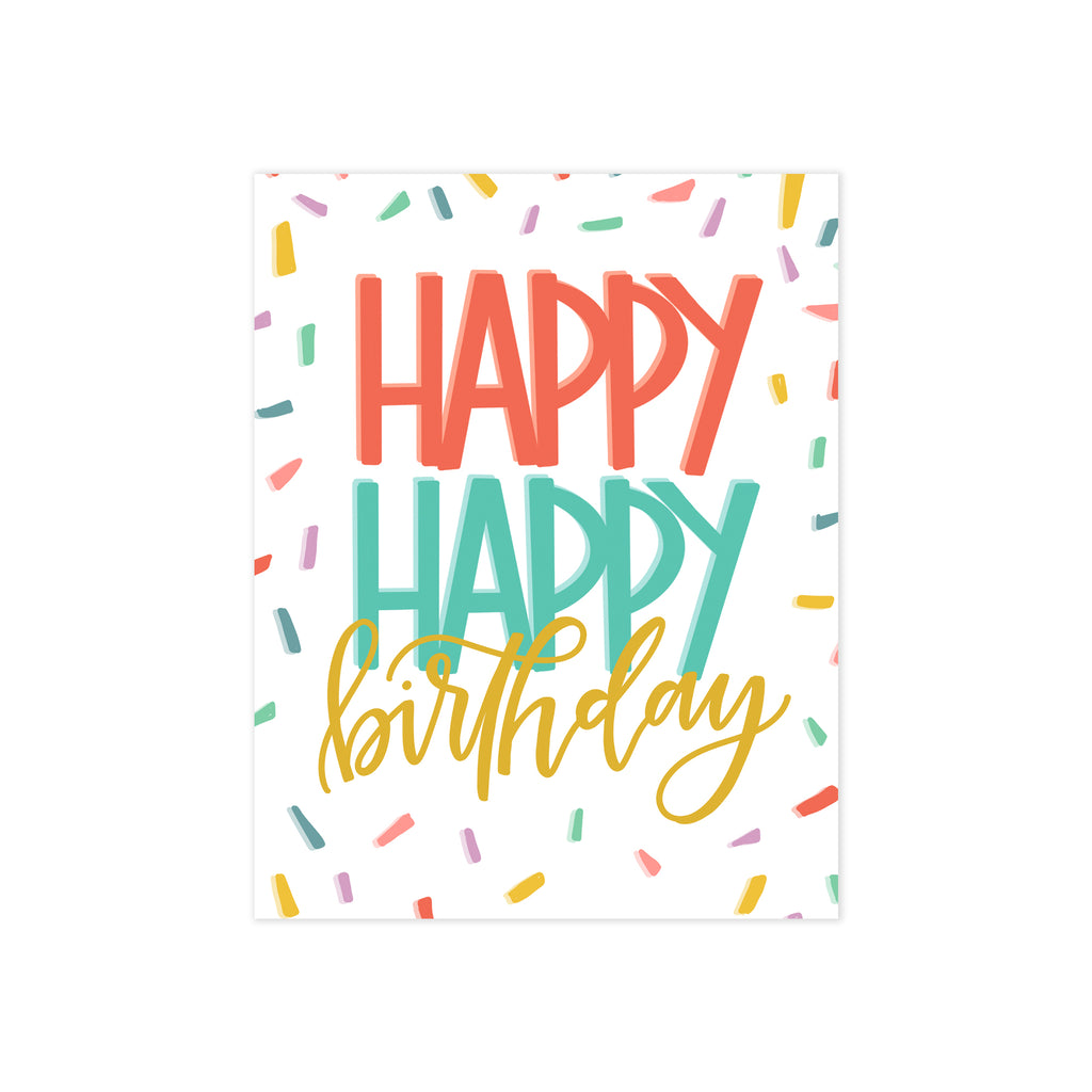 oh joyful day happy happy birthday confetti birthday card birthday greeting card bright colored card calligraphy and hand lettering