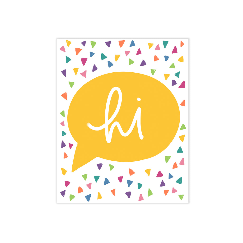 oh joyful day colorful hi bubble greeting cards with bright colored confetti custom stationery
