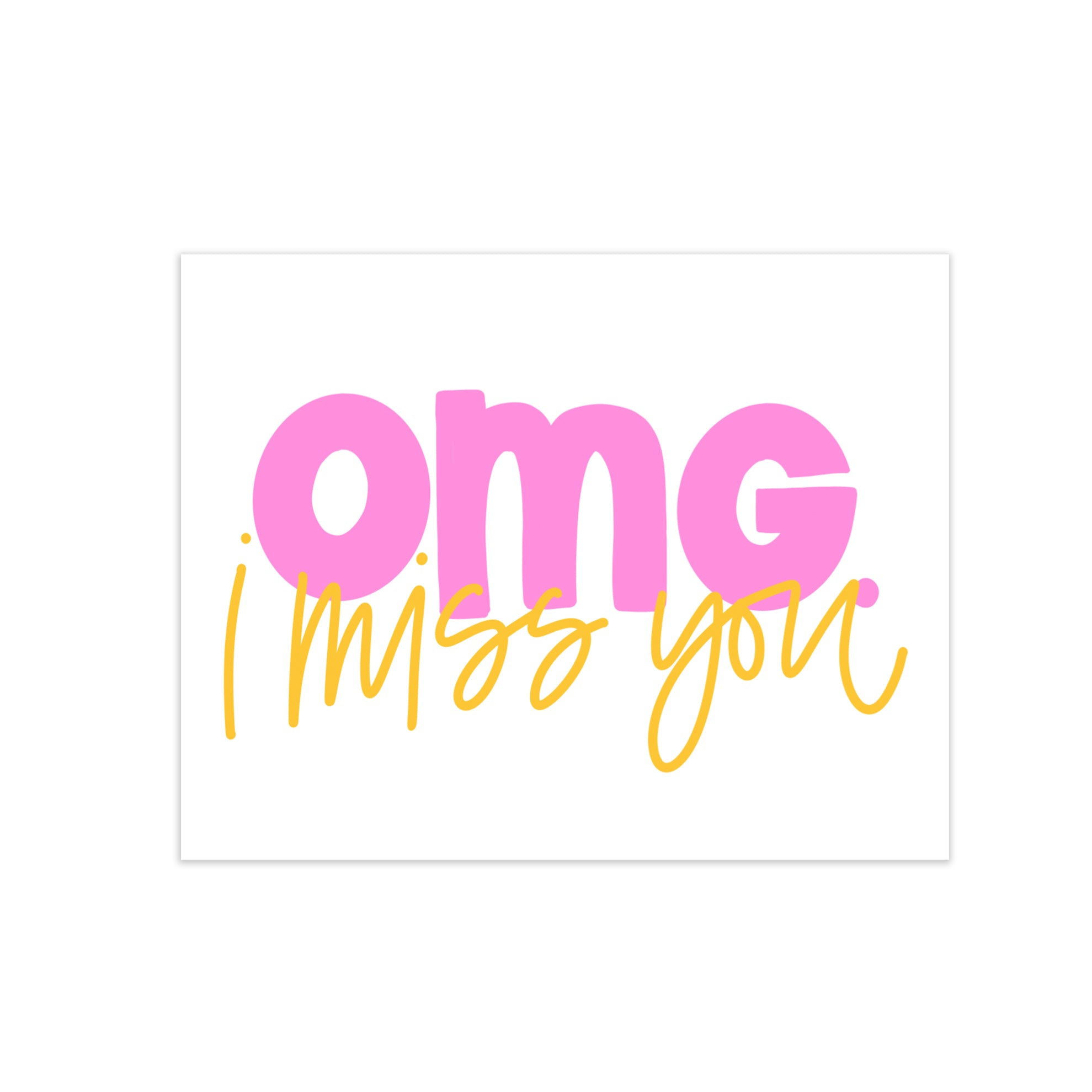 oh joyful day colorful calligraphy and hand lettering omg greeting card I miss you